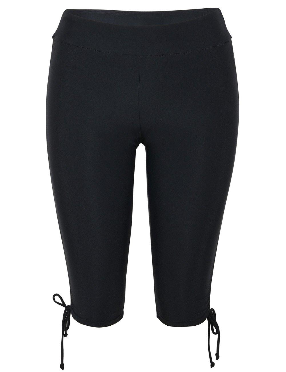 Firpearl Women's Swim Shorts Drawstring UPF50+ Swim Capris Board Shorts Swimsuit Bottom US24 Black