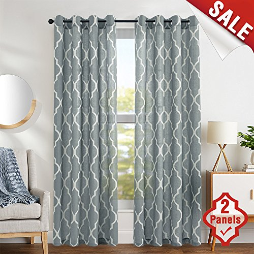 Cheap Panels jinchan moroccan tile design linen curtain textured lattice grommet top window panelsdrapes