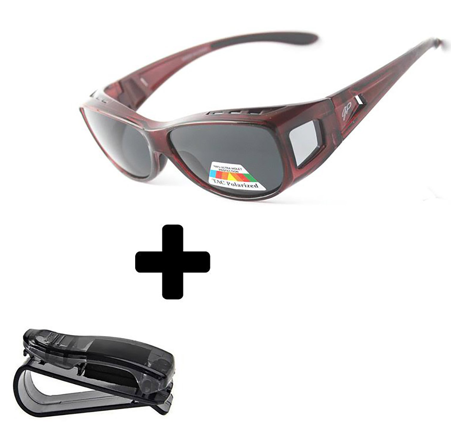 GREAT PICK Fit Over Sunglasses Polarized Sunglasses to Wear Over Glasses plus car holder clip