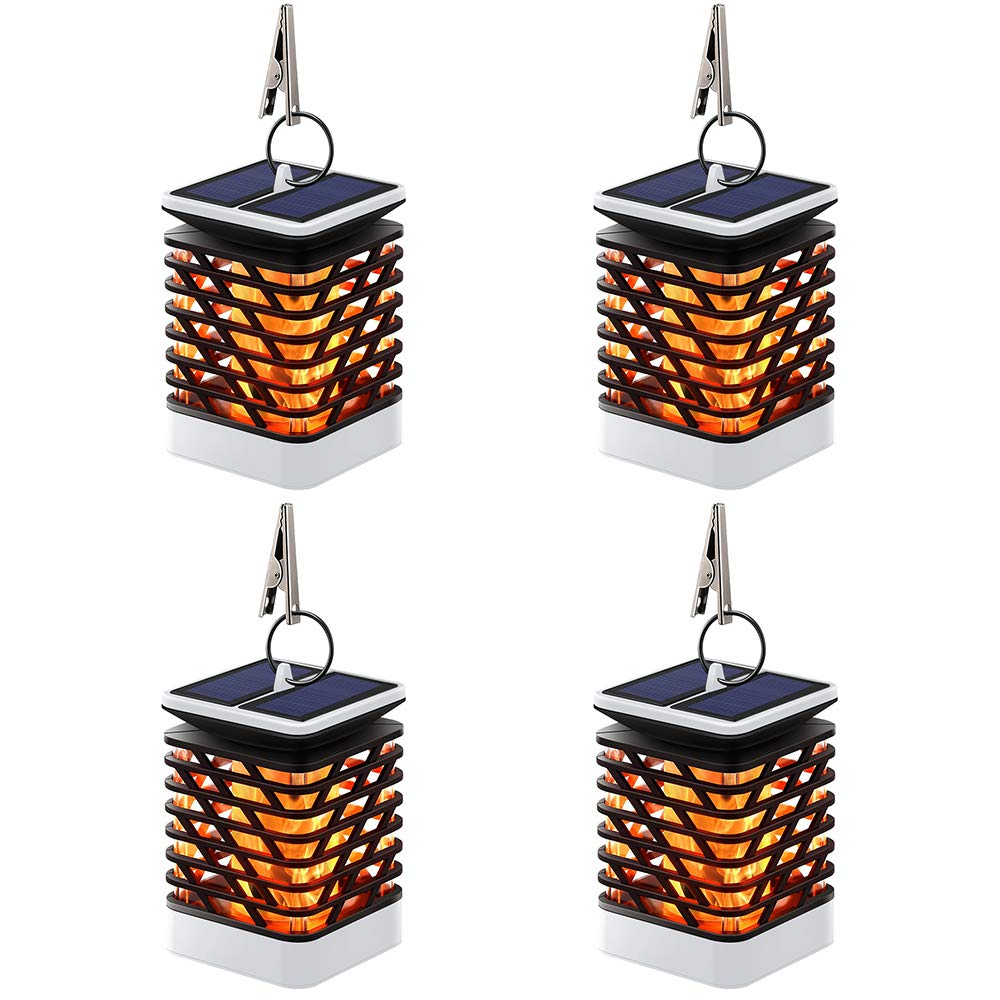 Hallomall Solar Outdoor Lights Hanging, Solar Lanterns Waterproof IP55 with Dancing Flame Effect 75LED for Garden Patio Umbrella Lamp Tree Pool Pavilion Lawn Porch Decor- Pack of 4 (Grey)