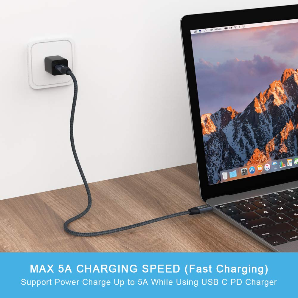 USB C to USB C Cable External SSD HDD QCEs USB C 3.1 Gen 2 Cable 20Gbps 5A//100W 1.65Ft Fast Charger Thunderbolt 3 Compatible with MacBook Pro//Air 2018 iPad Pro,Galaxy S10 S9 Note 10,Pixel 3//2