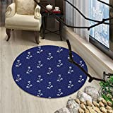 Navy Blue Round Area Rug Carpet Floral Pattern Design Cute Little Dots and Flowers Country Life Inspired ArtOriental Floor and Carpets Navy and White