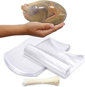 "Poultry Shrink Bags-Clear 13"" x 18"" Chickens or Rabbits-w/zip ties included/2.5 Mil/Freezer Safe (50)"
