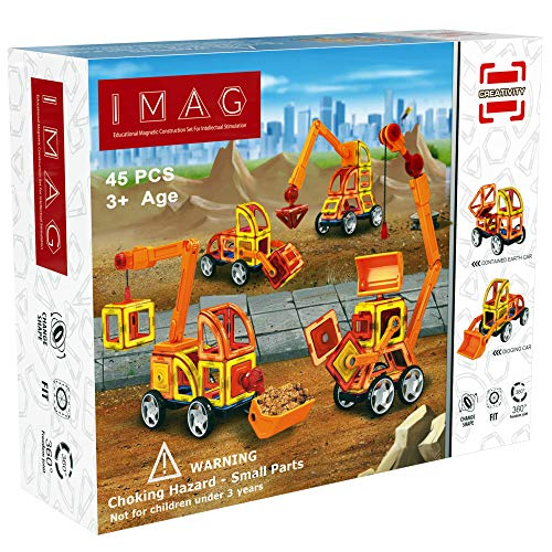 iMag Magnetic Building Blocks | IQ Builder (45-Pieces) | STEM Learning Toys | Creative Construction Engineering Block | Constructive Playthings Vehicle Set