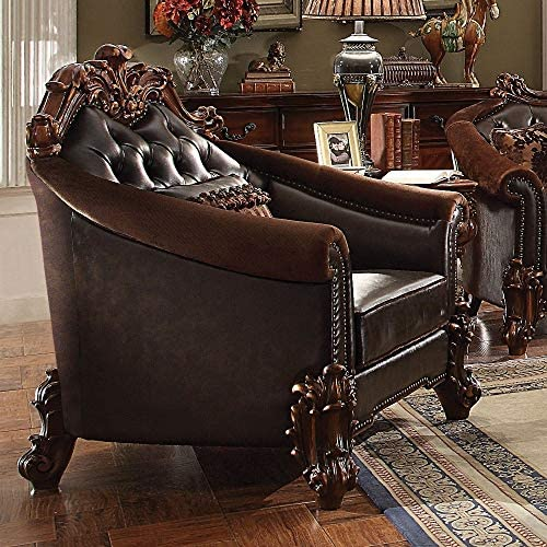 ACME Vendome II Dark Brown Faux Leather Chair with 1 Pillow