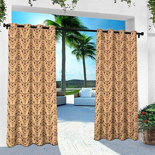Hengshu Geometric, Thermal Insulated Water Repellent Drape for Balcony,Vintage Tribal Ethnic Motifs with Diamond Shapes and Arrows Peruvian Ancient, W120 x L108 Inch, Multicolor
