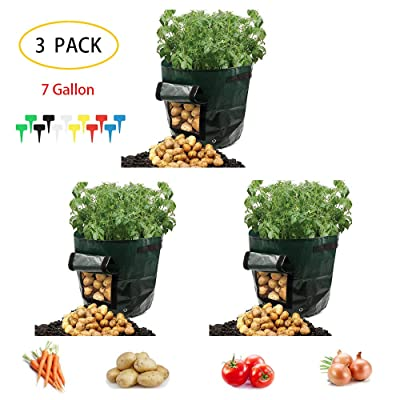Potato Grow Bags 7 Gallon Garden Vegetables Planter Bags outdoor indoor planters Flap for Planting Potato Carrot Onion Taro Radish Peanut, 3-Pack+ Plant label : Garden & Outdoor
