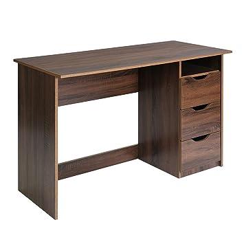 La Vane Schreibtisch Modern Walnuss Burotisch Computertisch Mit 3