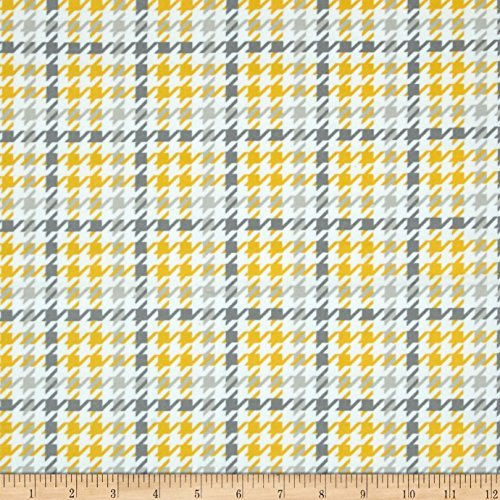 Robert Kaufman Kaufman Cozy Cotton Flannel Houndstooth Yellow Fabric by The Yard,
