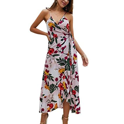 5654094f0dde Image Unavailable. Image not available for. Color  RGBIWCO - Women s Summer  Beach Floral Print Dresses - V Neck Strappy ...