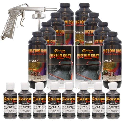 Custom Coat CHARCOAL METALLIC 8 Liter Urethane Spray-On Truck Bed Liner Kit with (FREE) SPRAY GUN