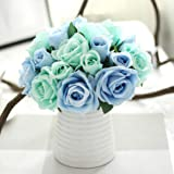 Iuhan 9 Heads Artificial Silk Fake Flowers Leaf Rose Wedding Floral Decor Bouquet (Blue)