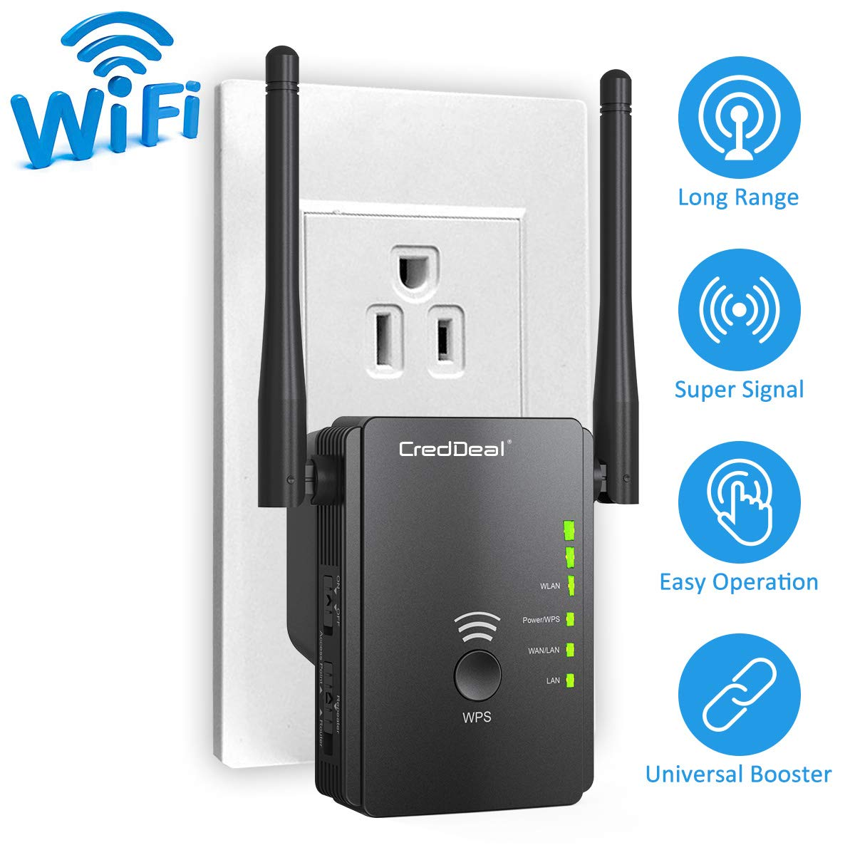 WiFi Range Extender-N300 Wireless Booster with High Gain Dual Antennas-2.4GHz Internet Signal Repeater with 2 Ethernet Ports for Whole Home Wi-Fi Coverage Compatible with Alexa Device (300Mbps)