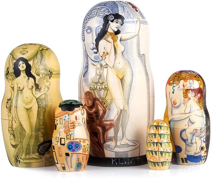 "7/"" Klimt Allegory of Sculpture Nesting Doll Hand Painted Russian Matryoshka"
