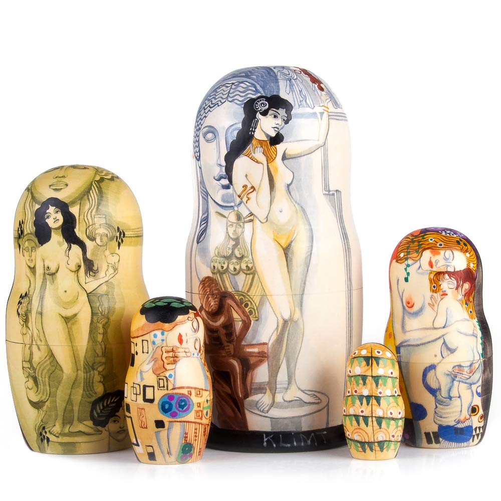 Books.And.More Set of 5 Gustav Klimt Allegory of Sculpture Nesting Doll 7 Inches by Books.And.More