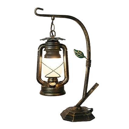 Desinger Lámpara de mesa de metal rústica Lámpara de ...