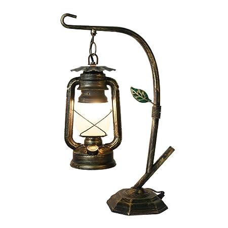 Desinger Lámpara de mesa de metal rústica Lámpara de escritorio de ...