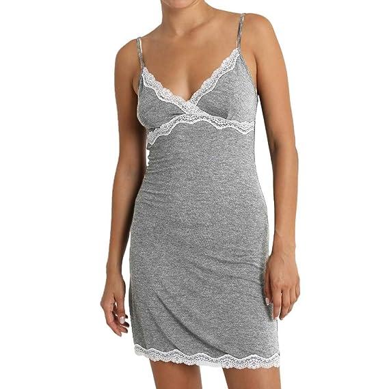 Luckycat Camisones Camisas Sling Lace Mujer Camisas de algodón Vestido sin Mangas de Dormir: Amazon.es: Ropa y accesorios