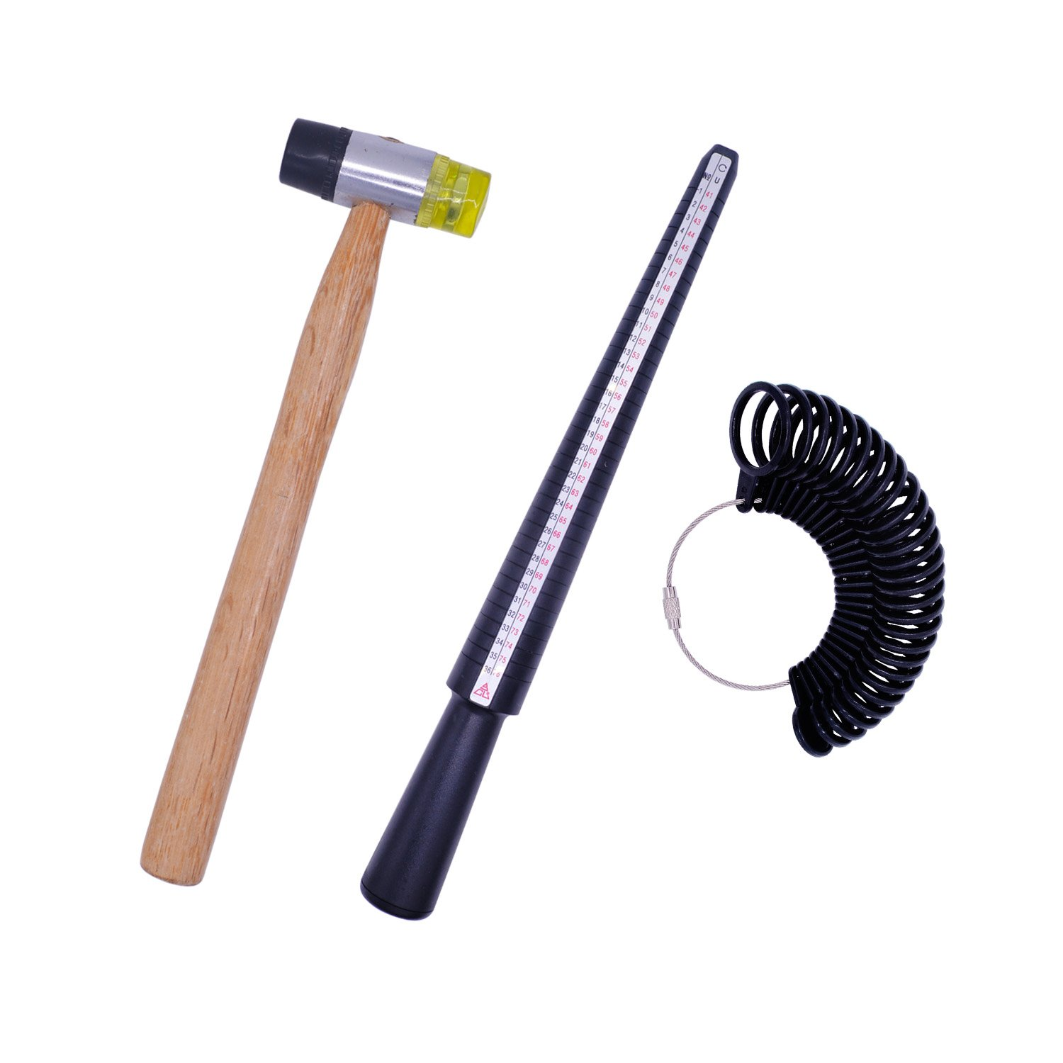 Jewelry Tools Kit, Doubletwo Ring Sizer Tool Plastic Ring Mandrel Finger Sizing Measuring Stick Ring Sizer Guage Wooden Handle Jewelers Rubber Hammer