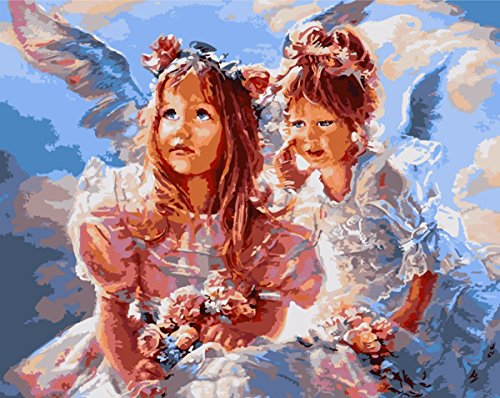 Paint by Number Kits for Adults- Cute Little Angel 16x20 inch Linen Canvas without Wooden Frame