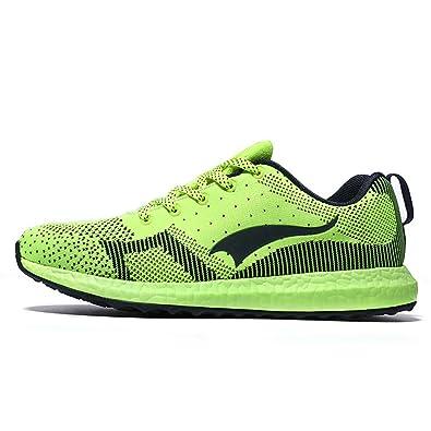 9fe43ac0fcc27b Longyun Men s Knit Mesh L1128 Running Shoes Green