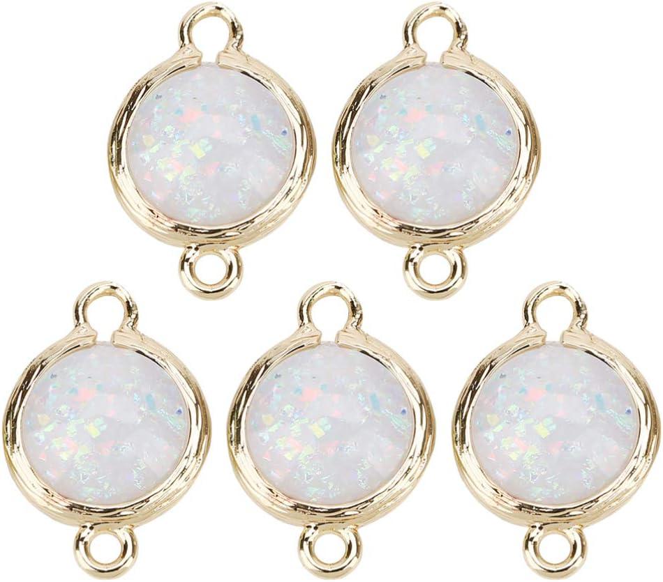 Milisten 5 Piezas Conectores de Encanto de Piedra de Nacimiento Perlas de Cristal Austriaco Colgantes de Piedras Preciosas de Cristal Espaciador de Perlas para Joyas de Suministros Blanco