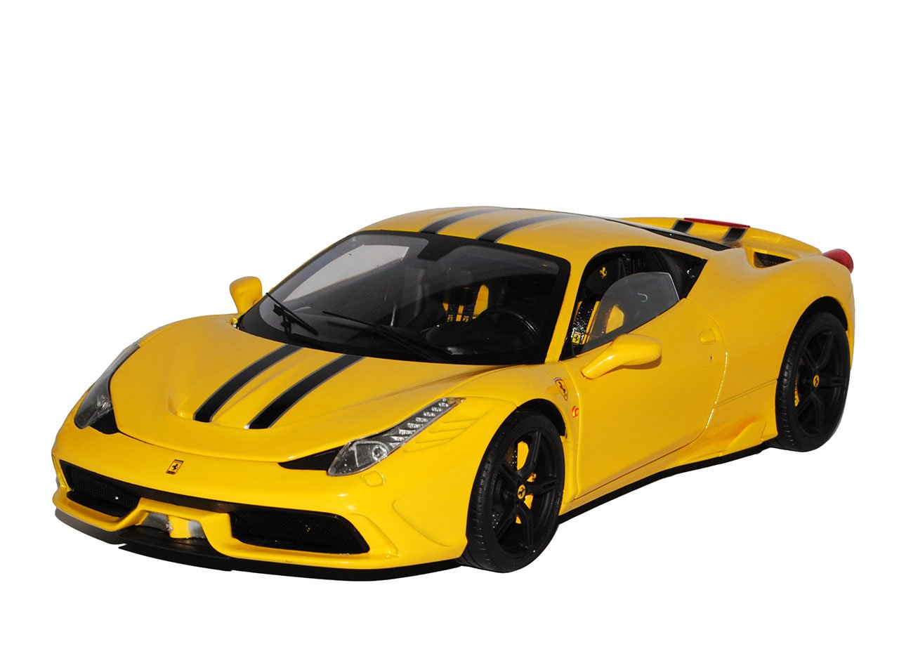 Ferrari 458 Speciale Coupe Coupe Coupe Gelb mit Streifen Ab 2013 1/18 Mattel Elite Modell Auto 12f936