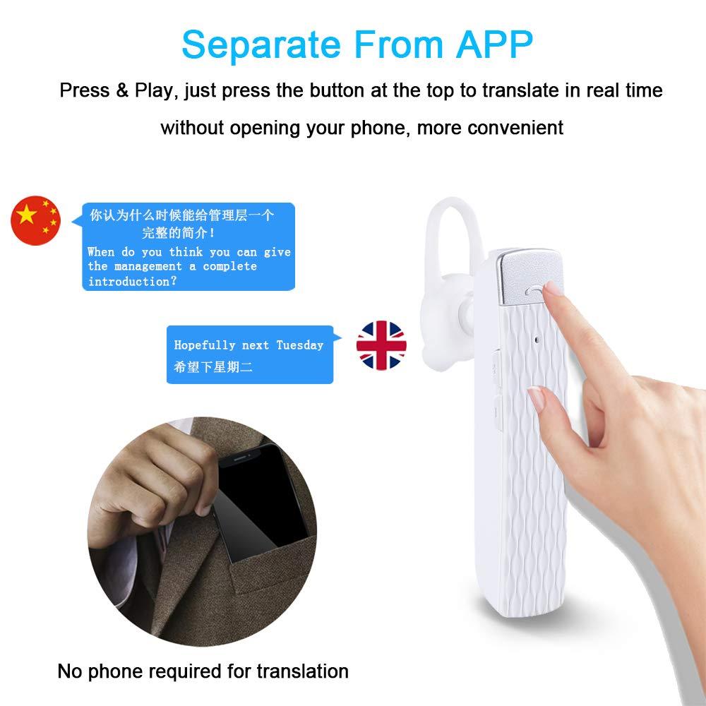 White MOSTOP Bluetooth Translator Earbuds Smart Wireless Translation Device Intelligent Headset Instant Portable Translator Suit to Andriod /& iOS Real Time Language Translator