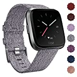 QIBOX Fitbit Versa Bands, Woven Fabric Wrist Strap Quick Release Watch Band with Classic Square Stainless Steel Buckle for Fitbit Versa Fitness Smart Watch(Grey)