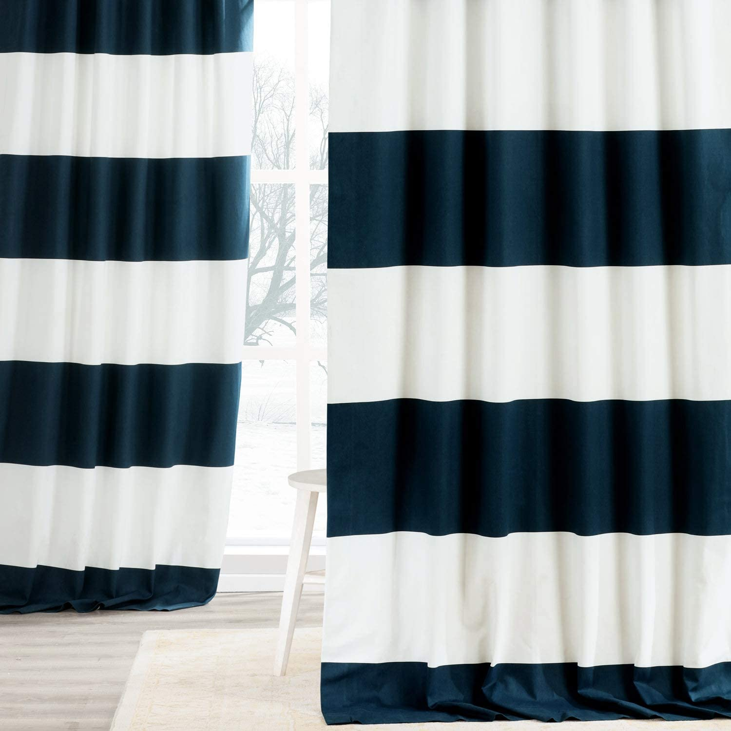 HPD Half Price Drapes PRCT-HS01-108 Horizontal Stripe Curtain (1 Panel), 50 X 108, Dusk Blue & OffWhite
