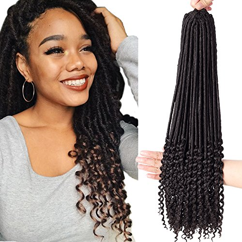VRHOT 6Packs 20'' Faux Locs Crochet Hair Braids with Curly Ends Ombre Wavy Synthetic Hair Extensions Dreadlocks Kanekalon Braiding Hair Goddess Locs Crochet Twist 20 inch (20'' (6 Packs), 2#) (Strand Twists Two)