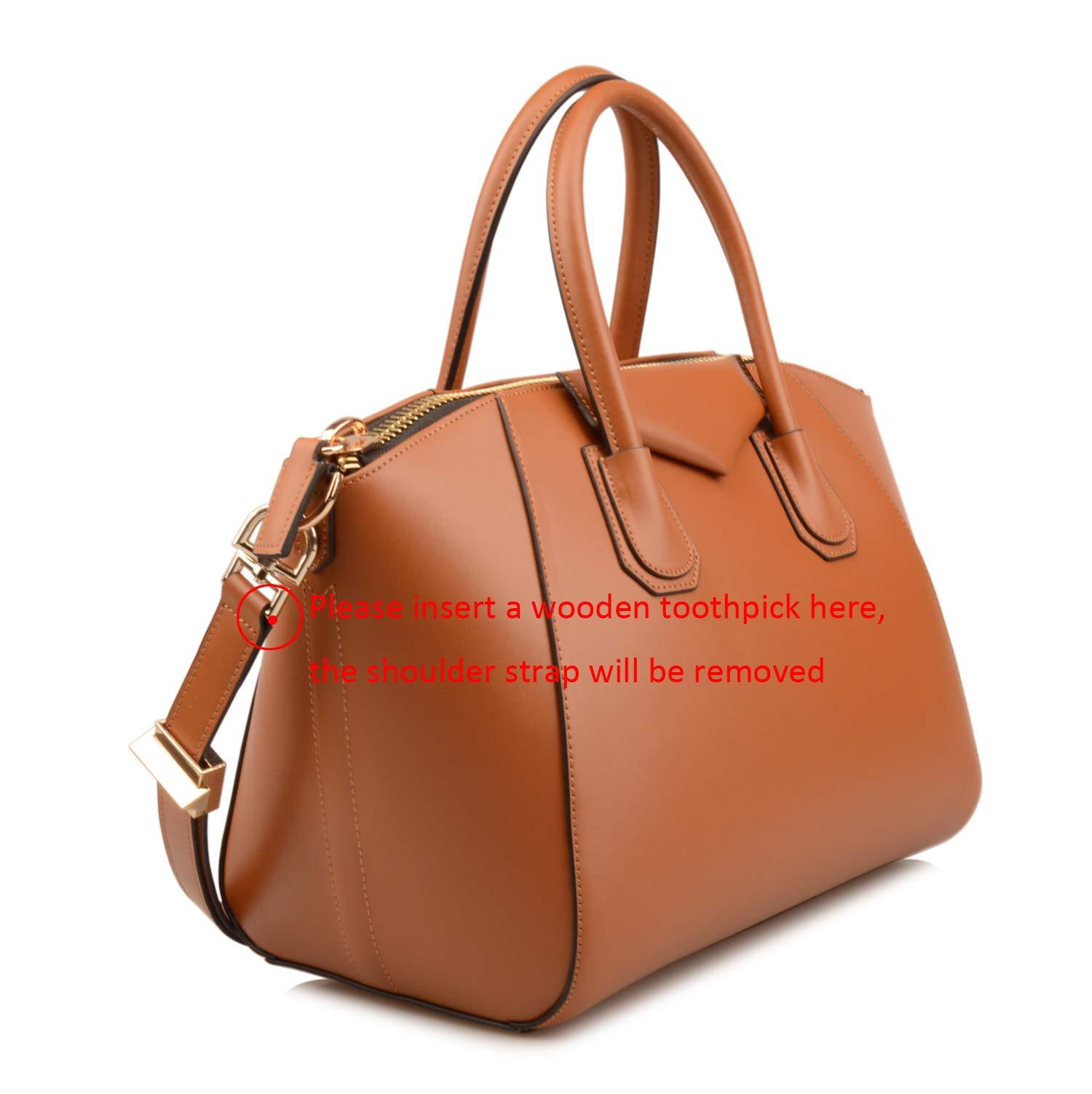 Ainifeel Women's Genuine Leather Simple Everyday Purse Top Handle Handbag Shoulder Handbags(Medium, Brown) by Ainifeel (Image #3)
