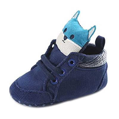 QGAKAGO Infant Baby Boys Cotton Cartoon Bear Soft Sole Sneakers Boots