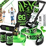 Slackline Kit with Training Line Tree Protectors High Grade Ratchet + Cover Arm Trainer Set Up Instruction Booklet and Carry Bag | Complete 60 ft Slack Line Set | Perfect Slackline For Kids and Adults