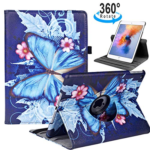 iPad 9.7 2018/2017, iPad Air 2, iPad Air Case - 360 Degree Rotating Stand Protective Cover with Auto Sleep Wake for Apple New iPad 9.7 inch (6th Gen, 5th Gen) / iPad Air 2013 Model(Blue Butterfly)