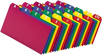 Poly Index Card Guide Set, 3 x 5 Inches, A-Z, 1/5 Inch Cut Tabs, Assorted Colors, 25 per Set (73153) - 1