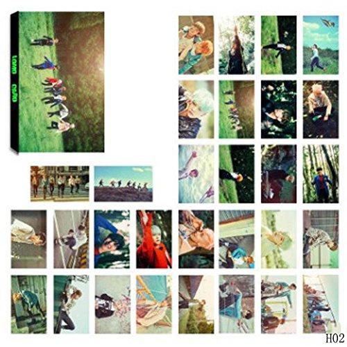 Teblacker 30 PCS/Set BTS Mini Lomo Cards, Kpop Bangtan Boys Jungkook, Jimin, V, Suga, Jin, J-Hope, Rap Monster Photocards Postcards, Best Gift for The Army(Style 02)