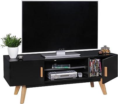 Retro TV Lowboard SCANO 120 cm MDF de Madera casa de Campo Compartimiento de 2 Puertas. Estantería HiFi Negra de 4 pies. Aparador de TV Escandinavo HxWxD: 45x120x42cm Negro: Amazon.es: Hogar