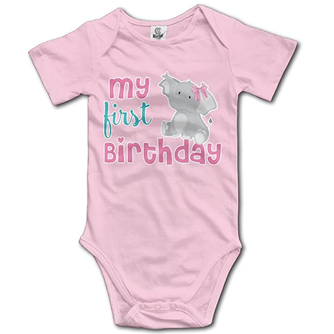 f5b010b50f Amazon.com  1st Birthday Elephant Pink Personalized Toddler Summer Baby  Onesie Bodysuits  Clothing