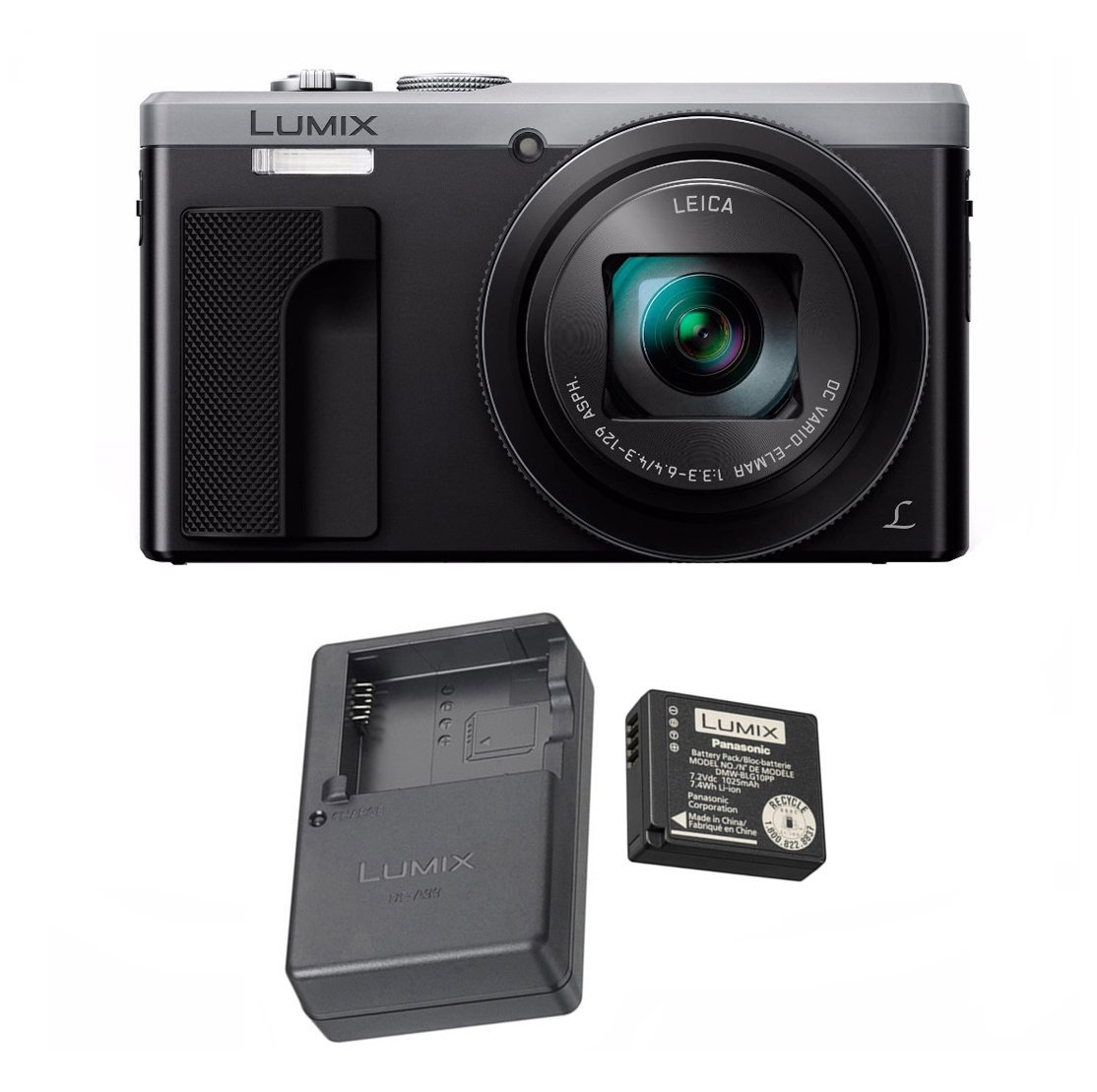 Panasonic LUMIX ZS60, 4K, WiFi, Leica Lens (Silver) + OEM EXTRA Panasonic DMW-ZSTRV Battery & Charger Travel Kit by Panasonic