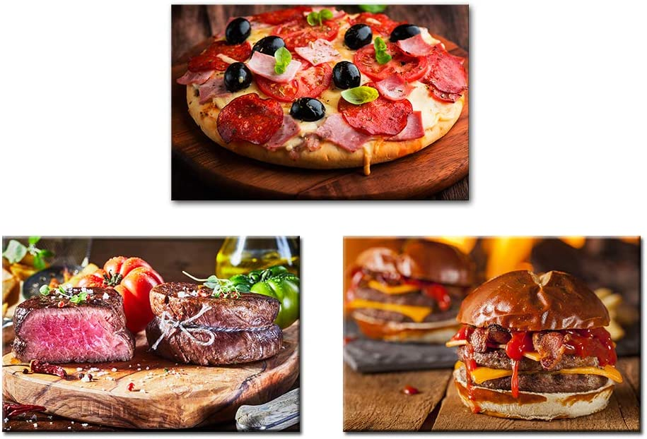 Artsbay Kitchen Canvas Wall Art Delicious Pizza Hamburger Steak Food Picture Prints on Canvas Modern Restaurant Dining Room Decor Stretched Ready to Hang