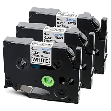 6mm Schwarz auf Weiß Etikettenband Kompatibel für Brother TZ-211 TZe-211 P Touch