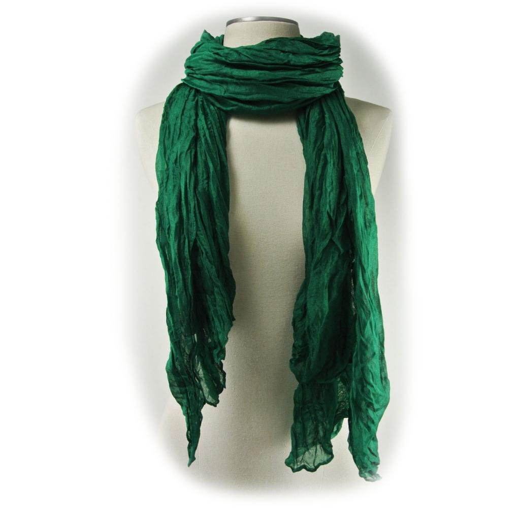Candy Scarf Long Crinkle Wrap Shawl Stole Style Fashion Women Girl 20 Colors-Hunter Green