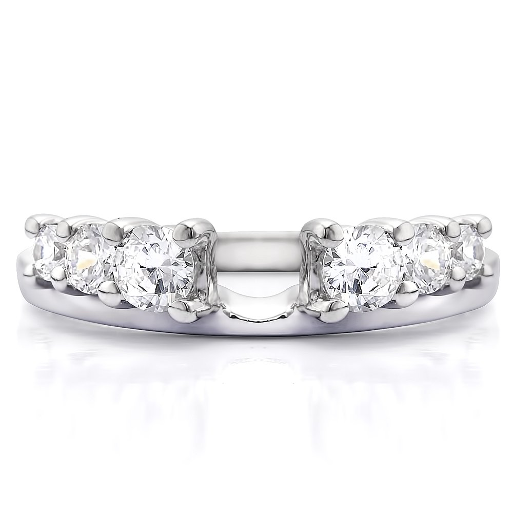G, I2 0.5 Carat Diamond Double Shared Prong Graduated Six Stone Ring Wrap in Sterling Silver