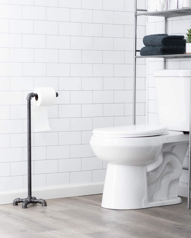 PIPE DÉCOR Freestanding Industrial Toilet Paper Holder, Rustic Farmhouse Bathroom, Iron Metal Grey Vintage Toilet… 4