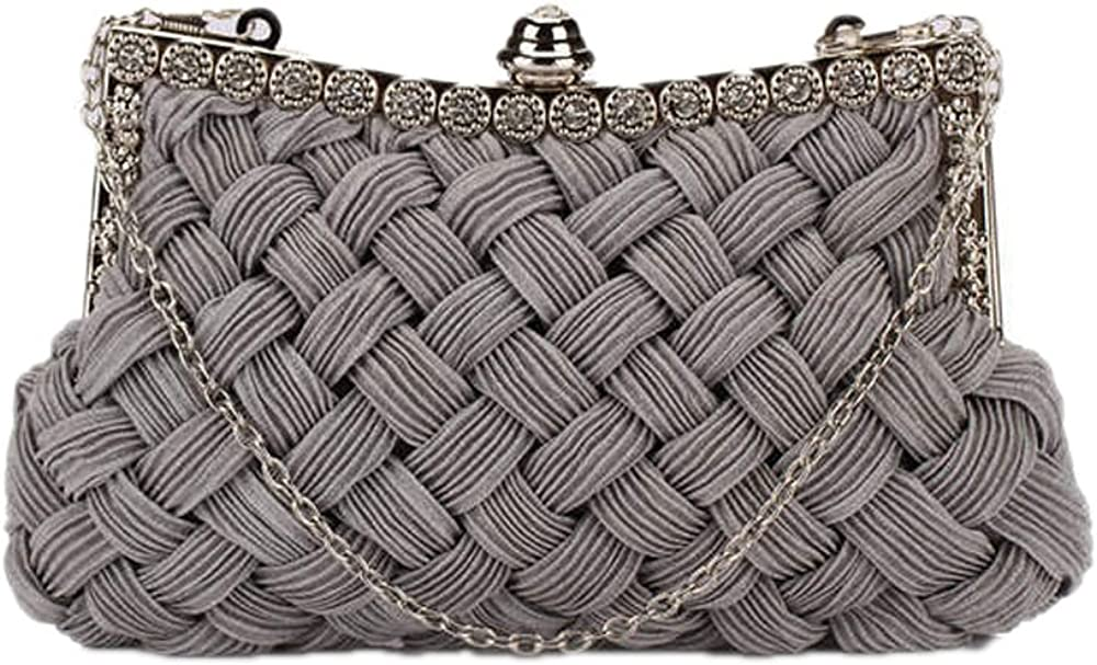 Catkit Womens Rhinestone Braided Clutch Handbag Prom Shoulder Chain Evening Bag