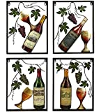 Metal Wine Bottle Grape Wall Art Sculpture Sign, 18-inch, (1-pc at Random)