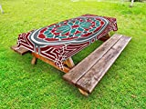 Lunarable Arabian tablecloths, Oriental Original Old Style Ornate Persian Pattern with Victorian Artsy Vintage, Decorative Washable Picnic Table Cloth, 58 X 120 inches, Red Grey Teal