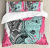 Modern Duvet Cover Set Queen Size by Ambesonne, French Bulldog Split with Ethnic and Paintbrush Vivid Artwork Print, Decorative 3 Piece Bedding Set with 2 Pillow Shams, Pink Seafoam Black White