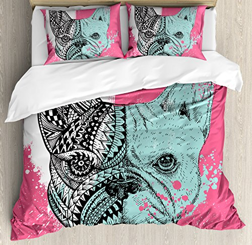 Ambesonne Modern Duvet Cover Set Queen Size by, French Bulldog Split with Ethnic and Paintbrush Vivid Artwork Print, Decorative 3 Piece Bedding Set with 2 Pillow Shams, Pink Seafoam Black - Queen Comforter Bulldogs
